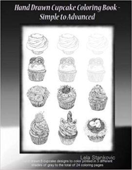 hand drawn cupcake coloring book