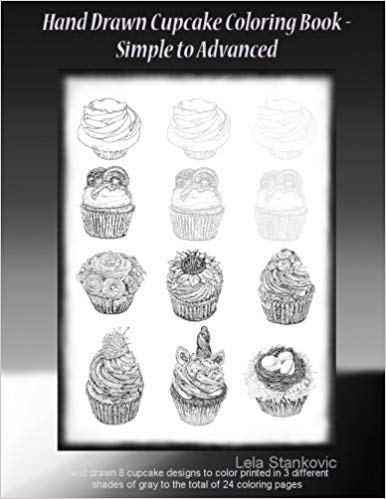 hand drawn cupcake coloring book